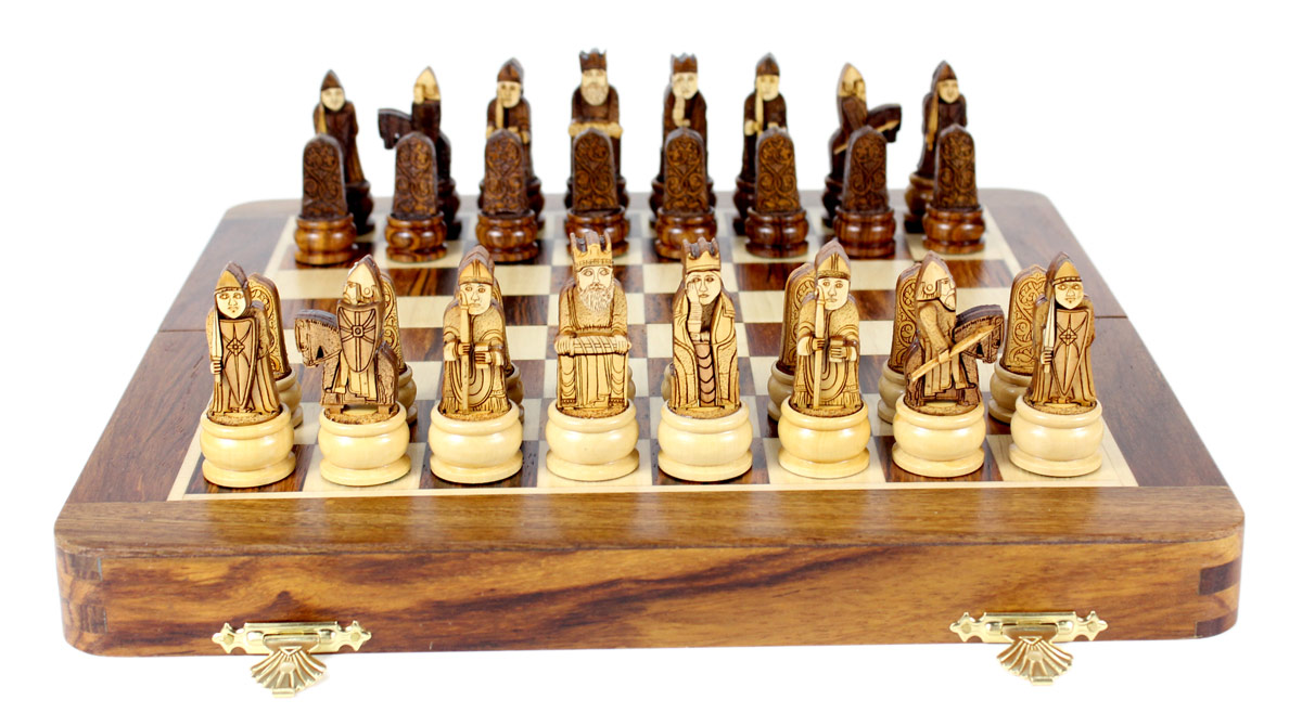 "3D Isle of Lewis Theme Magnetic Chess Set Folding 10"" Golden Rosewood/Maple"