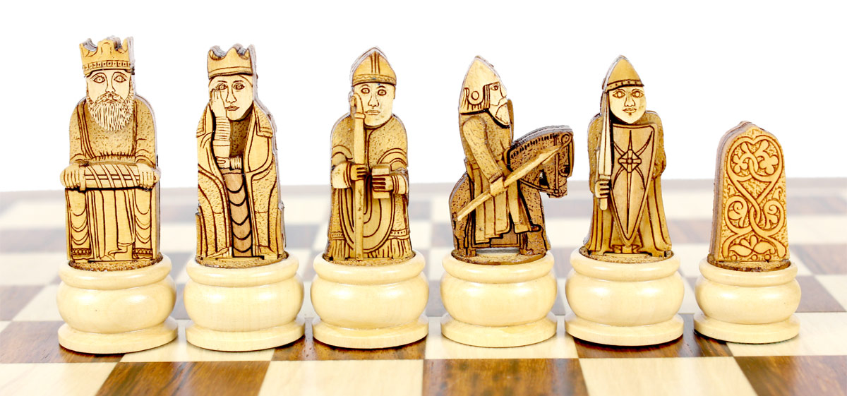 Front View of Light Side Chess Pieces.