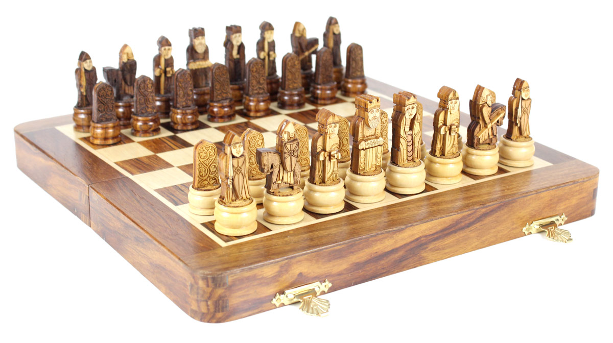 3D Isle of Lewis Magnetic Chess Set on Folding Board