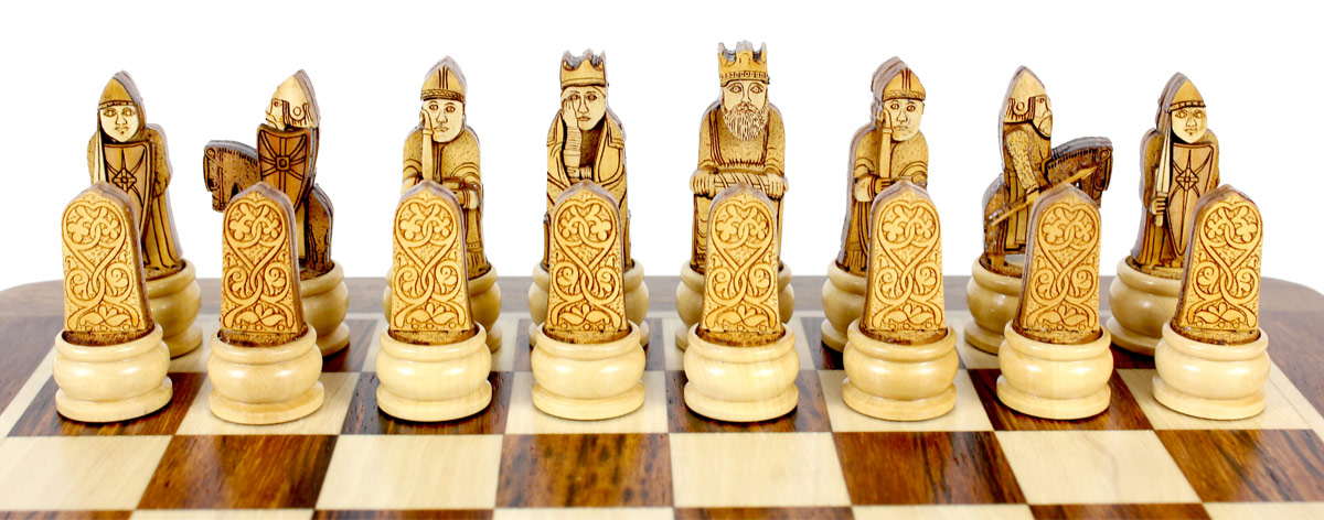 Beautiful Light Side Chess Pieces Placed on Folding Chess Board