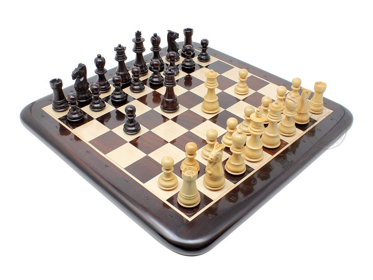 "Acacia Wood / Boxwood Chess Set Pieces Galaxy Staunton 3"" + Matching Flat Board"