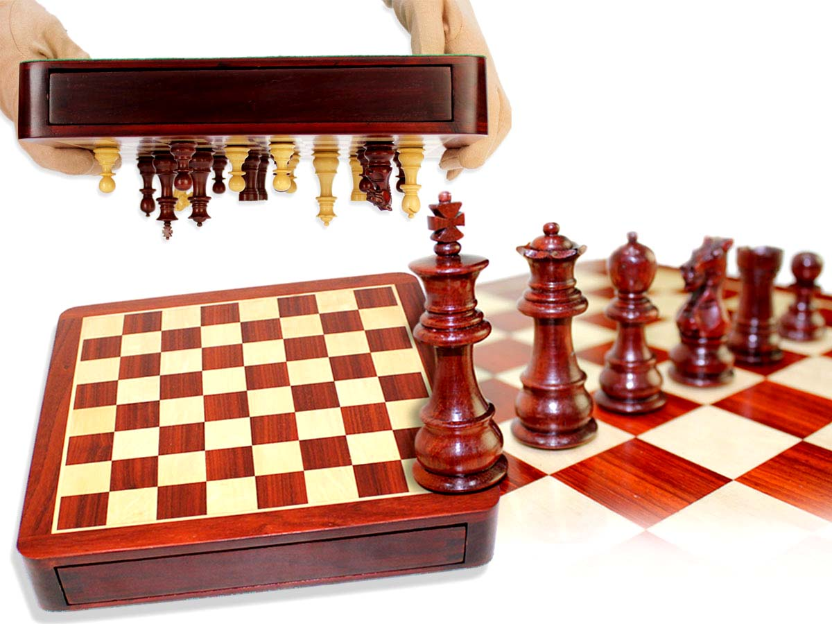 "Travel Chess Set Magnetic Drawer 12"" Bloodwood/Maple with 2 Extra Queens, 4 Extra Knights & 2 Extra Pawns"