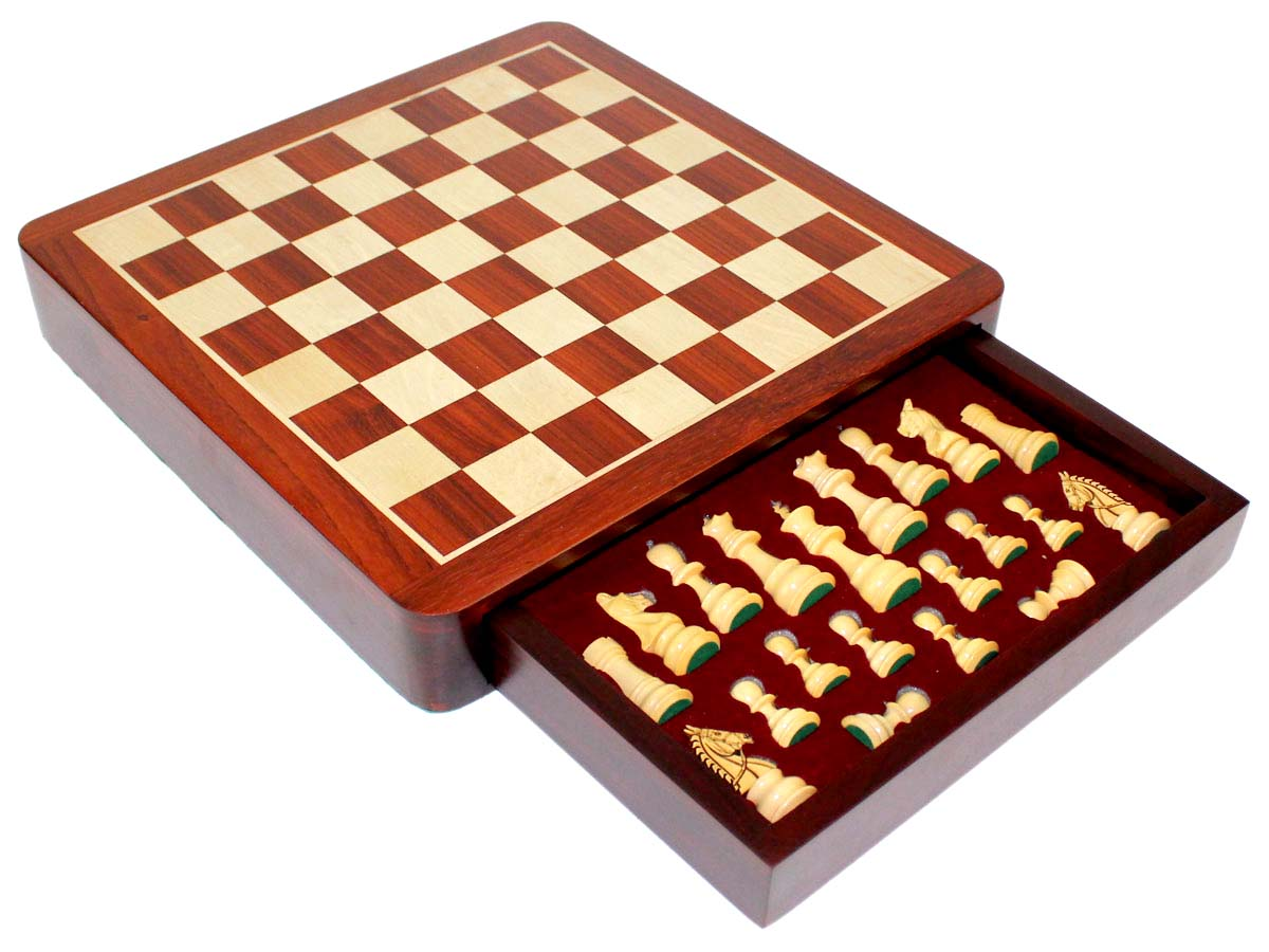 View of chess board with tray box half opened