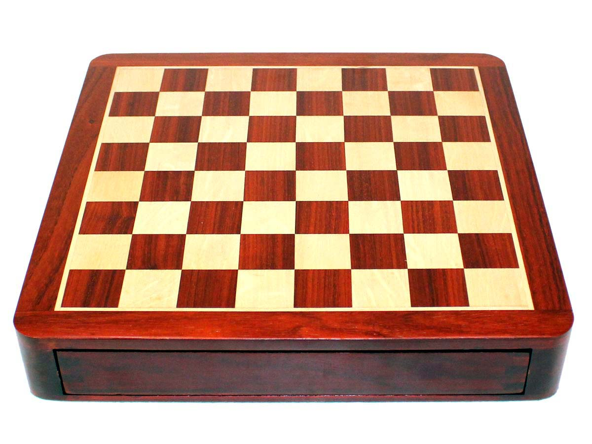 Top view of bloodwood/maple chess board with drawers closed