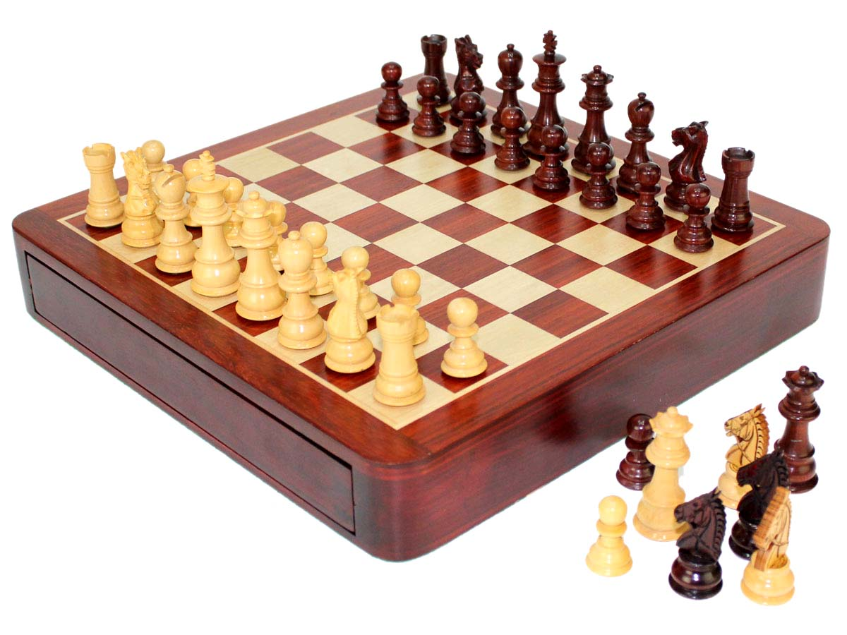 Side view of chess board with extra pieces