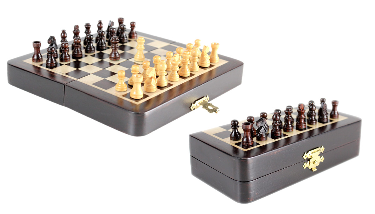 "5"" Wooden Chess Set Travel Magnetic Folding Board Rosewood + 2 Extra Queens"