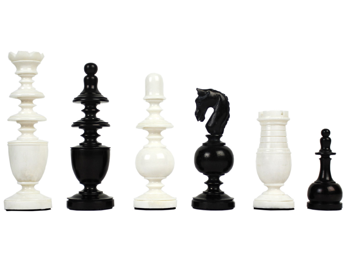 Camel Bone Hand Carved French Regence Chess Pieces