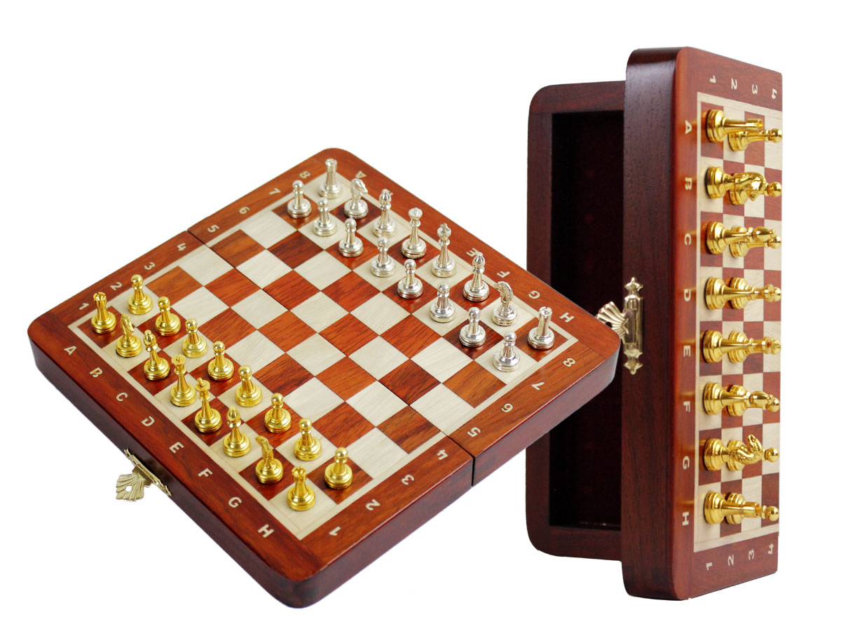 "Metal Wood Chess Set Magnetic Folding 9"" with Inlaid Algebraic Notations Bloodwood/Maple"