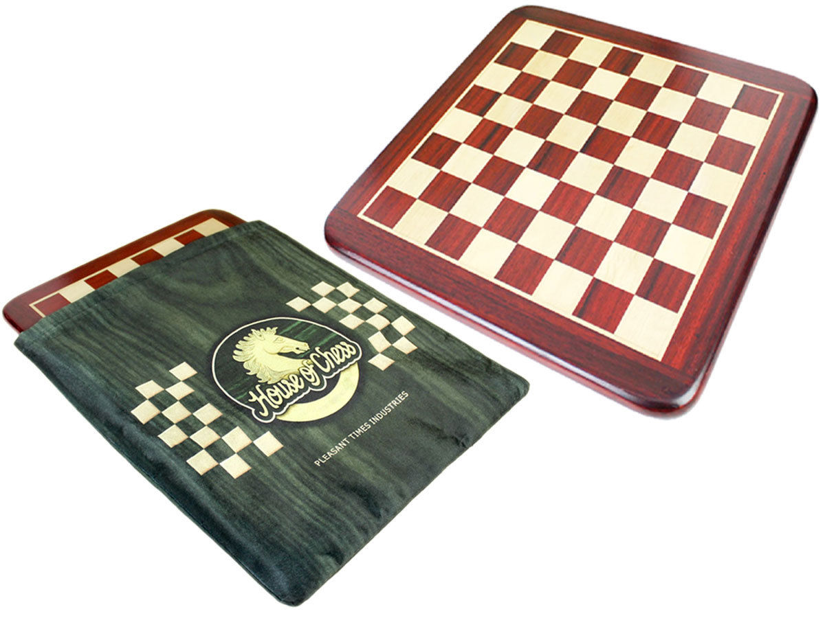 "Bud Rosewood and Maple Rounded Corners Classic Flat Chess Board - 15"" With Cushioned Protective Case"