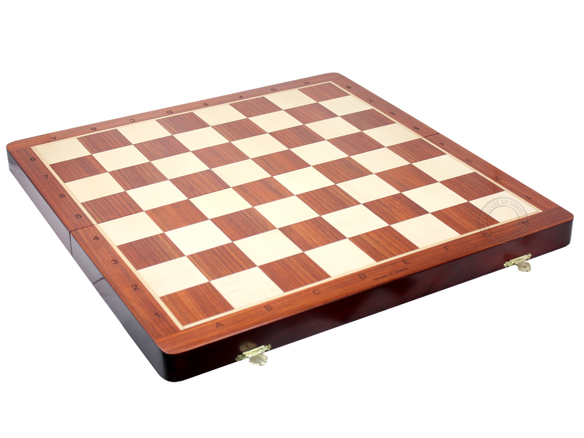 "21"" Folding Chess Board in Bloodwood with Engraved Algebraic Notations - Square Size 2.25 inch"