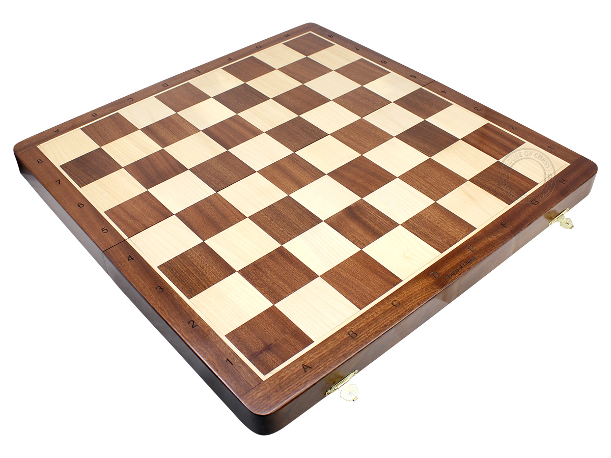 "21"" Folding Chess Board in Sapele Wood with Engraved Algebraic Notations - Square Size 2.25 inch"