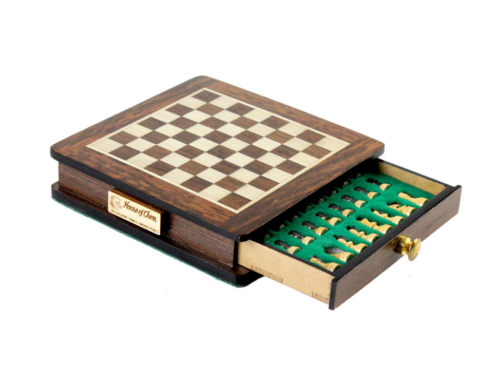 "Beautiful Chess Board with matching 5"" Golden Rosewood / Boxwood  chess set pieces"