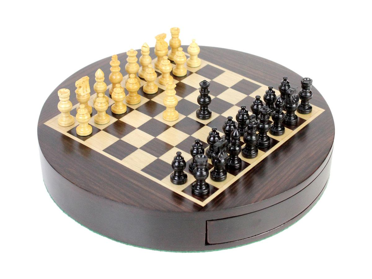 """Magnetic Round Drawer Rosewood Chess Set 9/"""" Globe Chess pieces in Ebony Wood"""