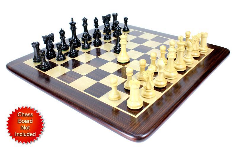 Ebony Wood Twin Knight Staunton Wooden Chess Set Pieces 4