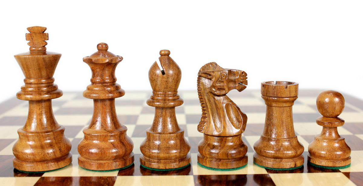 Golden Rosewood Boxwood Unique Staunton Wooden Chess Set Pieces King Size 3 Double