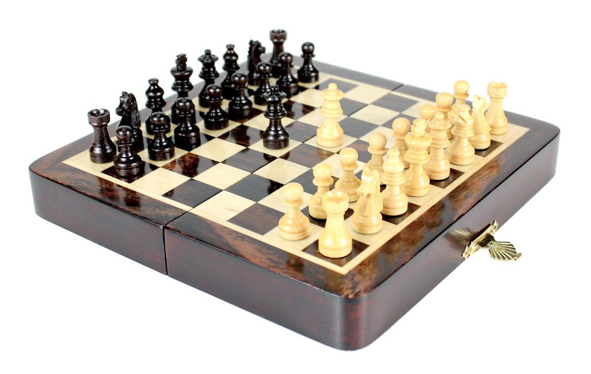 """40pcs Pocket Magnetic Chess Set Rosewood 6.25/""""+Extra 2 Queens 2 Pawns 4 Knights"""