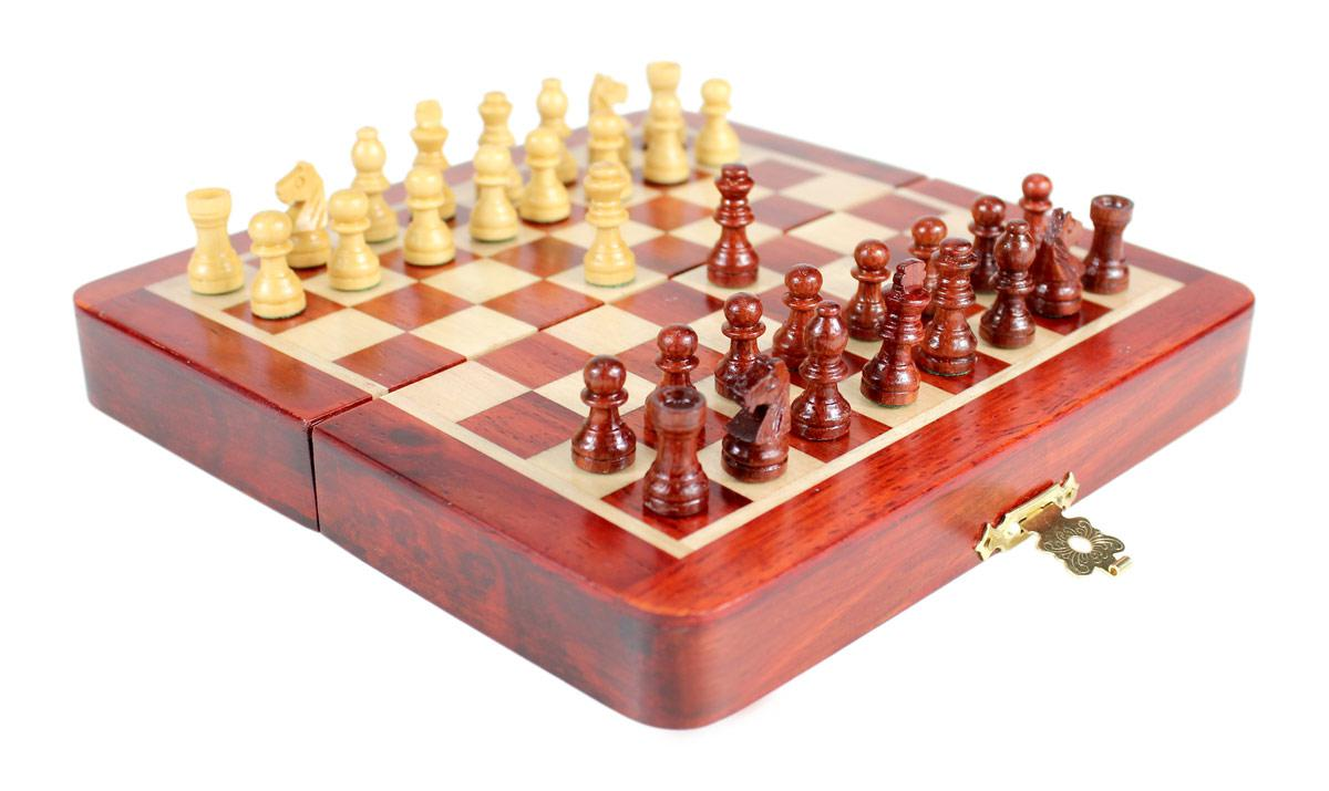 ... Chess Sets Wooden Wooden Chess Set Travel Magnetic Folding Board Bud  Rose Wood 5 ...