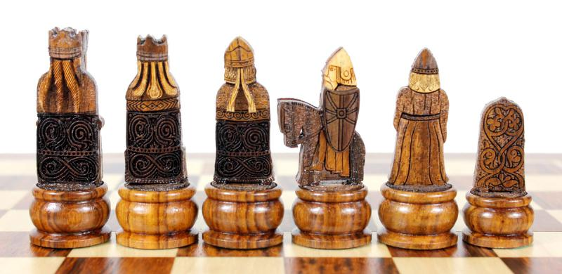 10 isle of lewis wooden magnetic travel chess set golden rosewood houseofchess - Lewis chessmen set ...